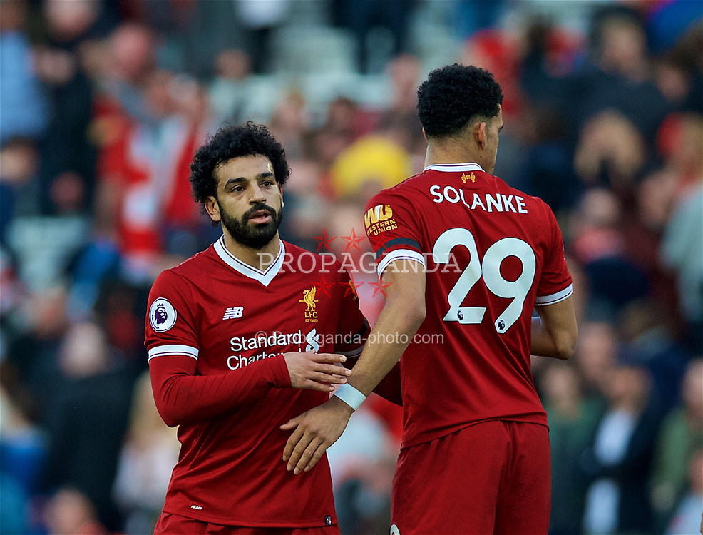 LIVERPOOL, ENGLAND - Saturday, April 14, 2018: Liverpool's Mohamed Salah and Dominic Solanke after the 3-0 victory during the FA Premier League match between Liverpool FC and AFC Bournemouth at Anfield. (Pic by Laura Malkin/Propaganda)