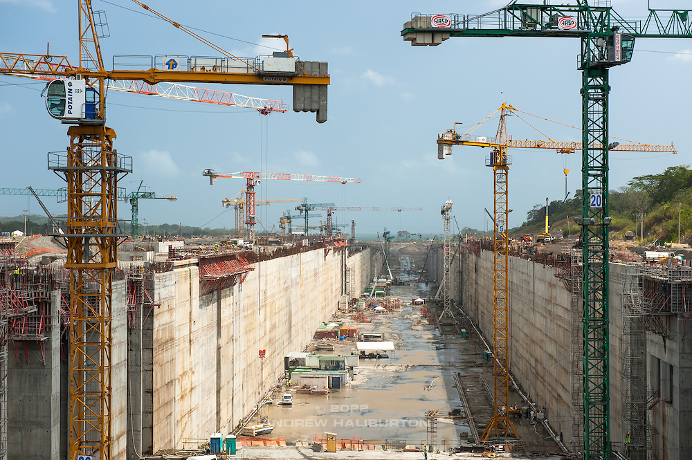 Construction at Gatun Locks of the new Post-Panamax-sized super locks with water-saving basins, part of the Panama Canal Expansion Project (Third Set of Locks Project), Colon City, Panama Canal, Panama.  2014 marks 100 years of operation of the canal.  ICE Americas Convention, 12 April 2014.