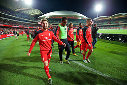 ADELAIDE, AUSTRALIA - Monday, July 20, 2015: Liverpool's Joe Allen applauds the supporters after the 2-0 victory over Adelaide United during a preseason friendly match at the Adelaide Oval on day eight of the club's preseason tour. (Pic by David Rawcliffe/Propaganda)