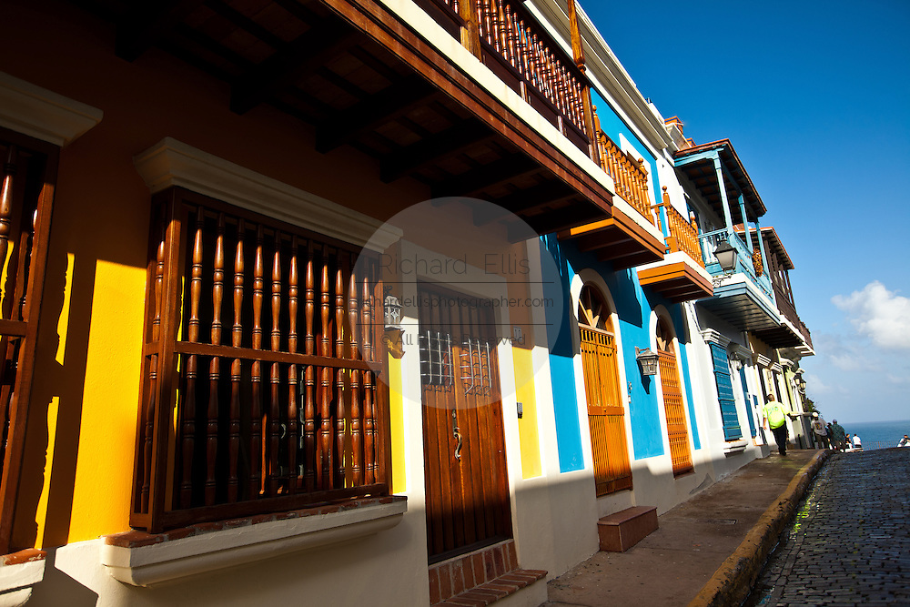 Historic traditional homes along Calle San Justo Old San Juan, Puerto Rico.