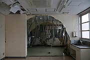 Photo shows a room damaged by the March 11 tsunamis at the Yamada  town Prefectural Hospital in Yamada town, Iwate Prefecture, Japan on  10 June 20011.  .Photographer: Robert Gilhooly