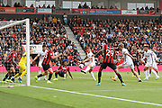 Goal - Billy Sharp (10) of Sheffield United scores the equalising goal to make the score 1-1 during the Premier League match between Bournemouth and Sheffield United at the Vitality Stadium, Bournemouth, England on 10 August 2019.
