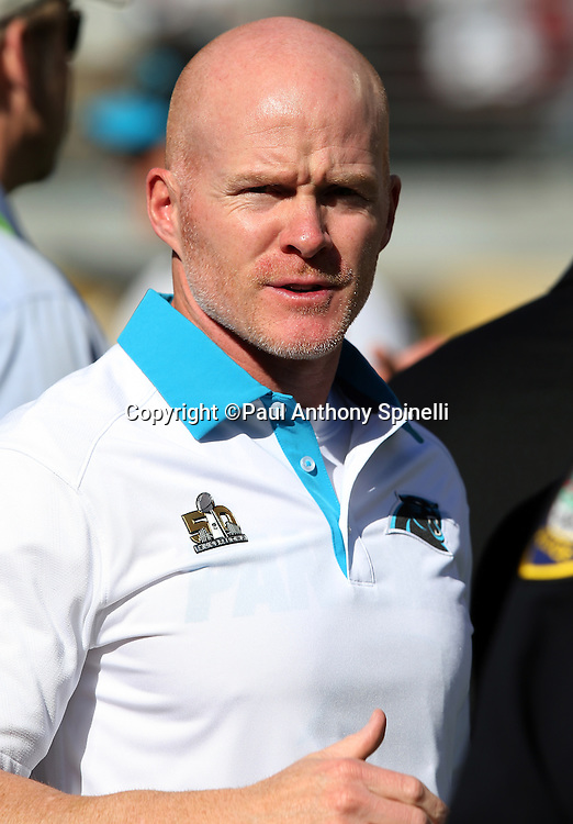 The Carolina Panthers defensive coordinator Sean McDermott looks on before the NFL Super Bowl 50 football game against the Denver Broncos on Sunday, Feb. 7, 2016 in Santa Clara, Calif. The Broncos won the game 24-10. (©Paul Anthony Spinelli)