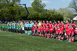 NEWTOWN, WALES - Sunday, May 6, 2018: Aberystwyth Town and Connahs Quay Nomad players line-up for the national anthem before the FAW Welsh Cup Final between Aberystwyth Town and Connahs Quay Nomads at Latham Park. (Pic by Paul Greenwood/Propaganda)