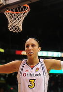 June 4, 2010; Phoenix, AZ, USA; Phoenix Mercury guard Diana Taurasi guards Los Angeles Sparks as they inbound the ball during the first half at US Airways Center.  The Mercury defeated the Sparks 90-89.  Mandatory Credit: Jennifer Stewart-US PRESSWIRE.