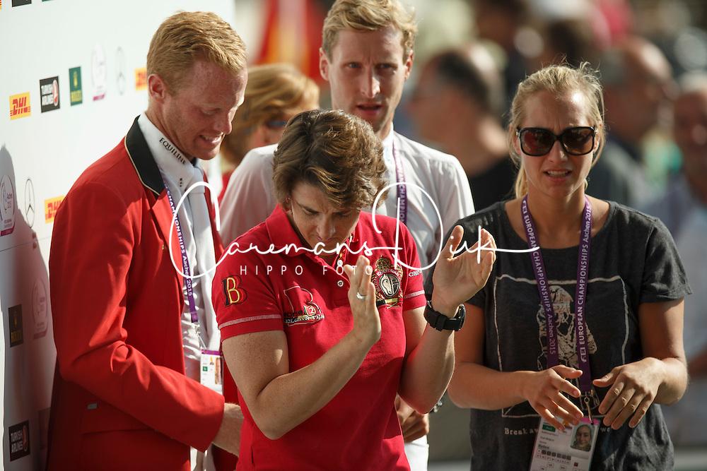 Laeremans Wendy, (BEL), Devos Pieter, (BEL), Bruynseels Niels, (BEL), Rydant Hymne, (BEL)<br /> Team completion and 2nd individual qualifier<br /> FEI European Championships - Aachen 2015<br /> © Hippo Foto - Dirk Caremans<br /> 20/08/15