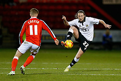 Luke Ayling of Bristol City is challenged by George Cooper of Crewe Alexandra - Photo mandatory by-line: Rogan Thomson/JMP - 07966 386802 - 20/12/2014 - SPORT - FOOTBALL - Crewe, England - Alexandra Stadium - Crewe Alexandra v Bristol City - Sky Bet League 1.