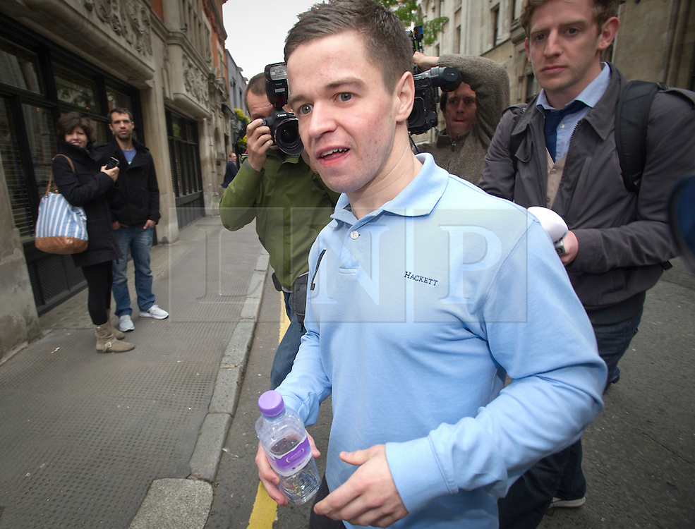 © Licensed to London News Pictures. 17/05/2012. London, UK. SAM HALLAM leaving the High Court in London where he had his 12-year sentence for the murder of  Essayas Kassahun was quashed following an appeal. SAM HALLAM was found guilty of the 2004 murder of Essayas Kassahun, 21, who died after being attacked on the St Luke's estate in Clerkenwell, London on the basis of witness testimony. Photo credit : Ben Cawthra/LNP
