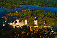 Aerial view, Iguazu Falls (Iguacu in Portugese), on the border of Brazil and Argentina. It is one of the New 7 Wonders of Nature and is a UNESCO World Heritage Site. There are 275 waterfalls total which make up the largest waterfalls in the world.