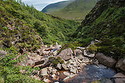 Hidden away below the Grut Fea Hamars  is Britain's most northerly native wood, Berriedale on the island of Hoy.