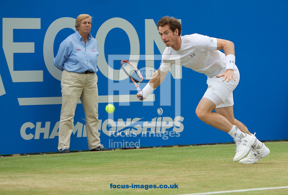Andy Murray of Great Britain chases down the ball during his semi-final final match against Viktor Troicki of Serbia in Aegon Championships at the Queen's Club, West Kensington<br /> Picture by Alan Stanford/Focus Images Ltd +44 7915 056117<br /> 20/06/2015