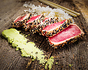 Delicate seared tuna with wasabi and rice.  Photography by Jeffrey A McDonald