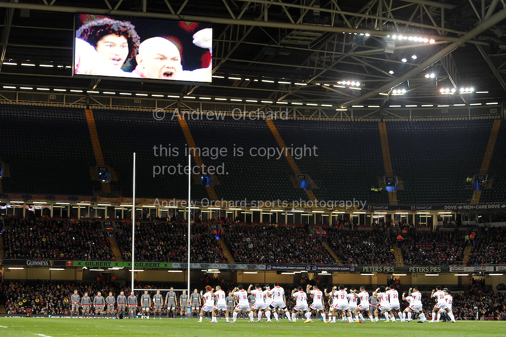 Wales face up to the Tongan's before the match. Dove Men series, autumn international rugby match, Wales v Tonga at the Millennium Stadium in Cardiff, South Wales on Friday 22nd November 2013. pic by Andrew Orchard, Andrew Orchard sports photography,