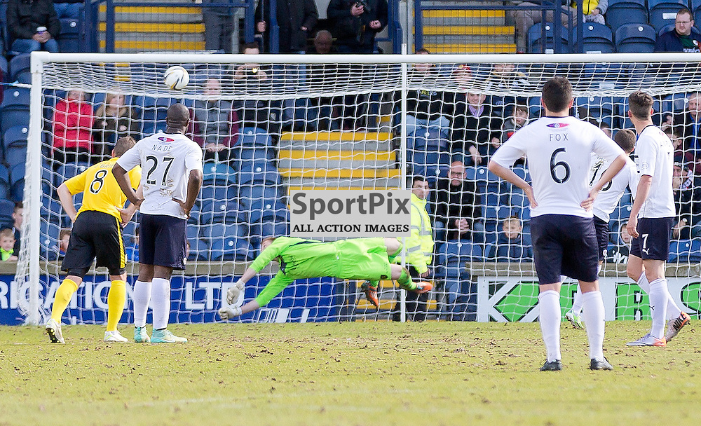 Raith Rovers v Livingston Scottish Championship 25 April 2015; Darren Jamieson (Livingston, 1) saves a penalty from Lewis Vaughan (Raith Rovers, 16) during the Raith Rovers v Livingston Scottish Championship match played at Stark's Park, Kirkcaldy;
