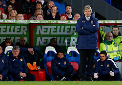 Manchester City Manager Manuel Pellegrini looks on sternly - Photo mandatory by-line: Rogan Thomson/JMP - 07966 386802 - 06/04/2015 - SPORT - FOOTBALL - London, England - Selhurst Park - Crystal Palace v Manchester City - Barclays Premier League.