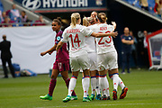Camille Abily to OL and Lucy Bronze to OL and Eugenie Le Sommer to OL and Ada Hegerberg to OL during the UEFA Women's Champions League, semi final, 2nd leg football match between Olympique Lyonnais and Manchester City on April 29, 2018 at Groupama stadium in Décines-Charpieu near Lyon, France - Photo Romain Biard / Isports / ProSportsImages / DPPI