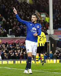 Everton's Kevin Mirallas celebrates after scoring his sides third goal, 3-1 - Photo mandatory by-line: Matt McNulty/JMP - Mobile: 07966 386802 - 26/02/2015 - SPORT - Football - Liverpool - Goodison Park - Everton v Young Boys - UEFA EUROPA LEAGUE ROUND OF 32 SECOND LEG