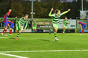 Forest Green Rovers Christian Doidge(9) celebrates his injury time winner, 2-1 during the Vanarama National League match between Forest Green Rovers and Aldershot Town at the New Lawn, Forest Green, United Kingdom on 5 November 2016. Photo by Shane Healey.