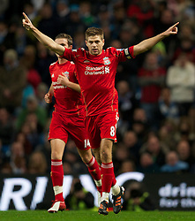 11.01.2012, Etihad Stadion, Manchester, ENG, Carling Cup, Manchester City vs FC Liverpool, Halbfinale, im Bild Liverpool's captain Steven Gerrard celebrates scoring the first goal against Manchester City from the penalty spot during the football match of English Carling Cup, Halffinal, between Manchester City and FC Liverpool at Etihad Stadium, Manchester, United Kingdom on 2012/01/11. EXPA Pictures © 2012, PhotoCredit: EXPA/ Propagandaphoto/ David Rawcliff..***** ATTENTION - OUT OF ENG, GBR, UK *****