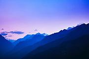 Himalayas at Munsiyari in Kumaon region of Uttarakhand, India Panchchuli Peaks behind Munsyari in Kumaon district of Pithoragarh, Uttarakhand, India