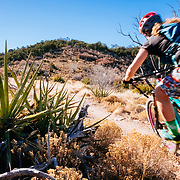 Heather Goodrich riding single track near Albuquerque, New Mexico.