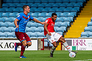 Goal Keshi Anderson of Swindon Town scores a goal to make it 0-2 during the EFL Sky Bet League 2 match between Scunthorpe United and Swindon Town at Sands Venue Stadium, Glanford Park, Scunthorpe, England on 3 August 2019.