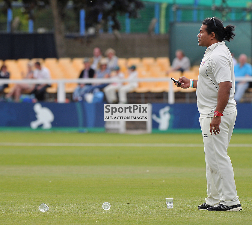 Freddie Tuilagi with his relaxed approach to cricket during the Charity Twenty/Twenty Cricket match between The Leicester Tigers XI and Matt Hampson/Lord Taverners XI. Held at Grace Rd, Leicester on the 1st september 2013.<br /> WAYNE NEAL | SPORTPIX.ORG.UK