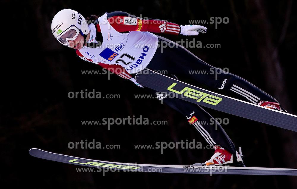Maja Vtic of Slovenia competes during FIS Continental Cup Ski Jumping Ladies in Ljubno, on January 23, 2011, at K-85 in Ljubno ob Savinji, Slovenia. (Photo By Vid Ponikvar / Sportida.com)