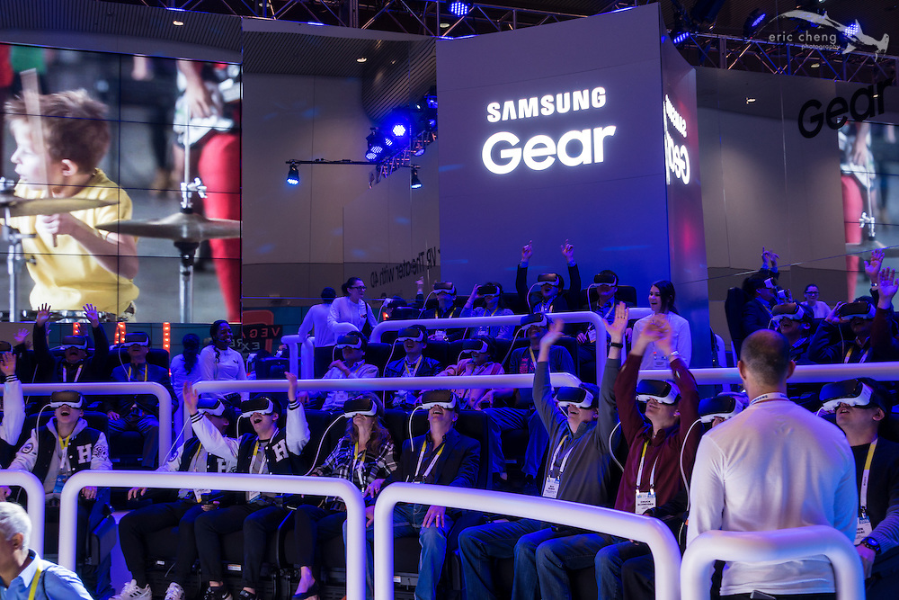 Hands in the air! VR rollercoaster demo at Samsung Galaxy / GearVR booth. CES 2016, Las Vegas.