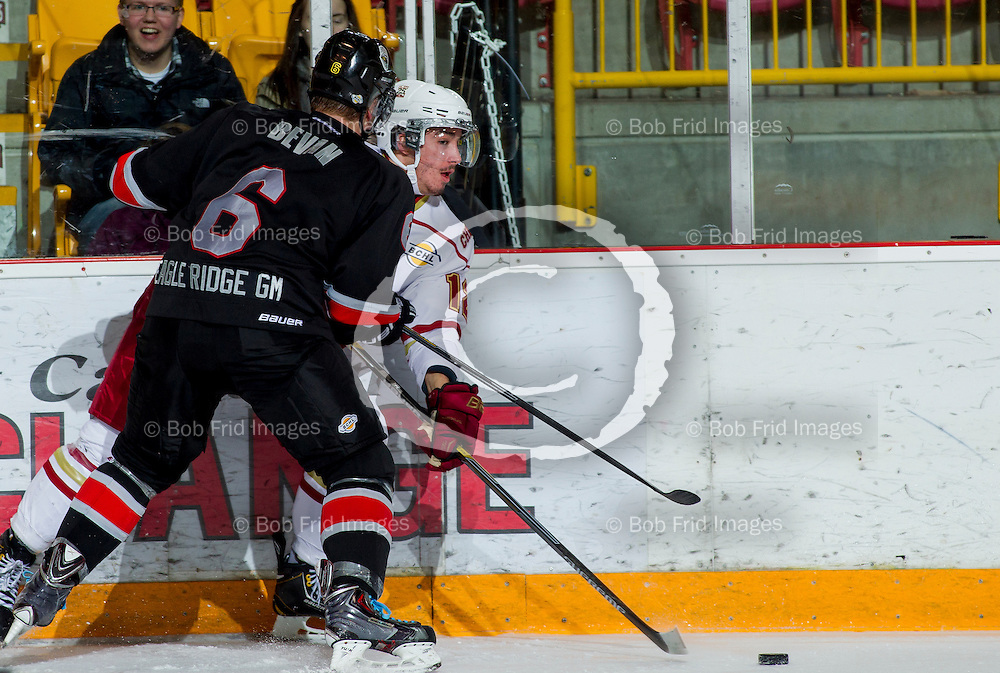22 November 2014:  Luke McColgan (12) of the Chiefs  during a game between the Chilliwack Chiefs and the Coquitlam Express at Prospera Centre, Chilliwack, BC.    ****(Photo by Bob Frid - All Rights Reserved 2014): mobile: 778-834-2455 : email: bob.frid@shaw.ca ****