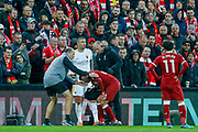Liverpool midfielder Alex Oxlade-Chamberlain (21) gets a serious injury during the Champions League semi final leg 1 of 2 match between Liverpool and Roma at Anfield, Liverpool, England on 24 April 2018. Picture by Simon Davies.
