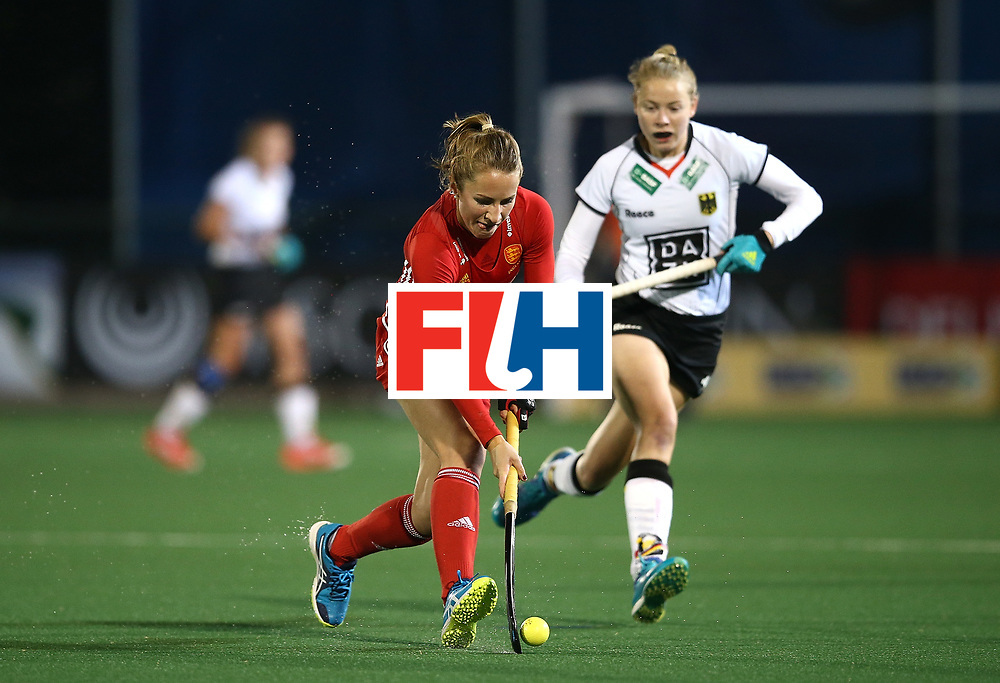 JOHANNESBURG, SOUTH AFRICA - JULY 14:  Shona McCallin of England battles with Naomi Heyn of Germany during day 4 of the FIH Hockey World League Women's Semi Finals Pool A match between Germany and England at Wits University on July 14, 2017 in Johannesburg, South Africa.  (Photo by Jan Kruger/Getty Images for FIH)