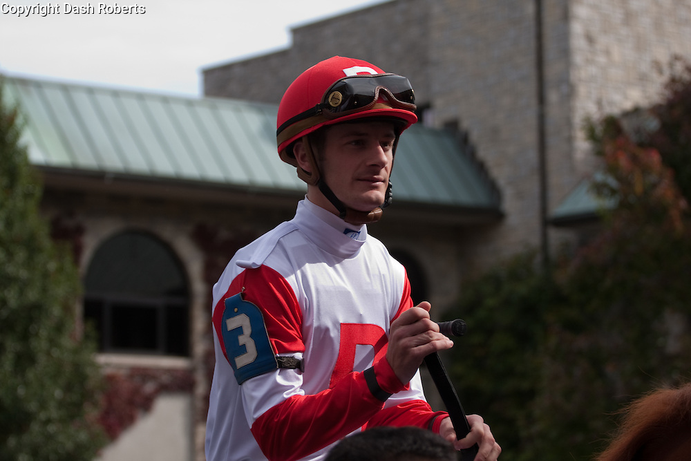 Jockey Julien Laparoux on his mount in the paddock at Keeneland during the 2009 Fall Meet.
