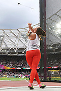 Great Britain, London - 2017 August 07: Malwina Kopron (AZS Poznan) of Poland competes in women&rsquo;s hammer throw final during IAAF World Championships London 2017 Day 4 at London Stadium on August 07, 2017 in London, Great Britain.<br /> <br /> Mandatory credit:<br /> Photo by &copy; Adam Nurkiewicz<br /> <br /> Adam Nurkiewicz declares that he has no rights to the image of people at the photographs of his authorship.<br /> <br /> Picture also available in RAW (NEF) or TIFF format on special request.<br /> <br /> Any editorial, commercial or promotional use requires written permission from the author of image.