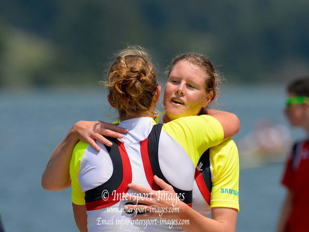 Lucerne. Switzerland.  GBR W2X winners go the Women's Double scull, FISA Event.  FISA WC III. Lake Rotsee. 13:44:31  Sunday  14/07/2013  [Mandatory Credit, Peter Spurrier/ Intersport Images]