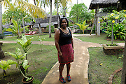 Lorna poses outside accommodation at Cherai Beach Resort, Kerala.