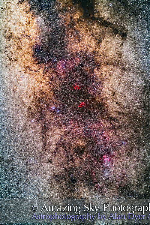 The Milky Way through the region of the tail of Scorpius, photographed with it high in the sky from Australia. <br /> <br /> At bottom are the clusters and nebulas of the False Comet area around NGC 6124. Above and at centre are the red nebulas of NGC 6334, the Cat&rsquo;s Paw, and NGC 6357 (sometimes called the Lobster Nebula, for a &ldquo;Paws and Claws&rdquo; pairing). <br /> <br /> The clusters Messier 6 and Messier 7 are at top left with M7 lost in the star clouds of the Milky Way. The Galactic Centre lies at top left. <br /> <br /> This is a stack of 5 x 2-minute exposures at f/2.8 with the Rokinon 85mm lens, and filter-modified Canon 5D MkII at ISO 2500. Taken from Tibuc Gardens Cottage near Coonabarabran, Australia. <br /> <br /> The image could be turned 90&deg; CCW to better resemble its orientation in the sky in which it was photographed in the southern hemisphere, This orientation matches the view in the northern hemisphere.