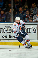 KELOWNA, BC - OCTOBER 12: Logan Stankoven #11 of the Kamloops Blazers skates from behind the net with the puck against the Kelowna Rockets at Prospera Place on October 12, 2019 in Kelowna, Canada. (Photo by Marissa Baecker/Shoot the Breeze)