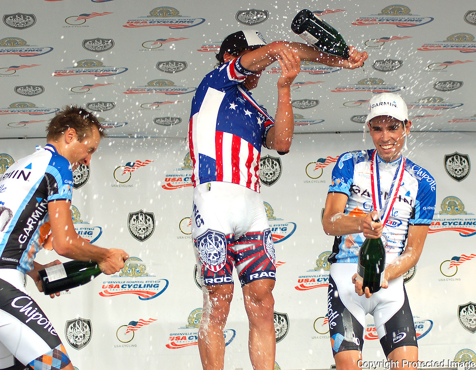 Champagne fight after the 2008 US Pro Championship road race