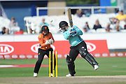 Lizelle Lee of Surrey Stars is bowled by Amelia Kerr during the Women's Cricket Super League match between Southern Vipers and Surrey Stars at the 1st Central County Ground, Hove, United Kingdom on 14 August 2018.
