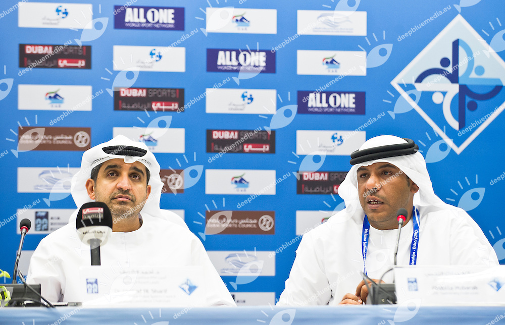 Dr. Ahmad Al Sharif  Chairman Organizing Committee; Abdulla Mubarak ..9th Asian Swimming Championships.Dubai - U.A.E.  Nov.15th - 25th 2012.Day 00 - Opening Press Conference.Photo Perottino/Deepbluemedia/Insidephoto