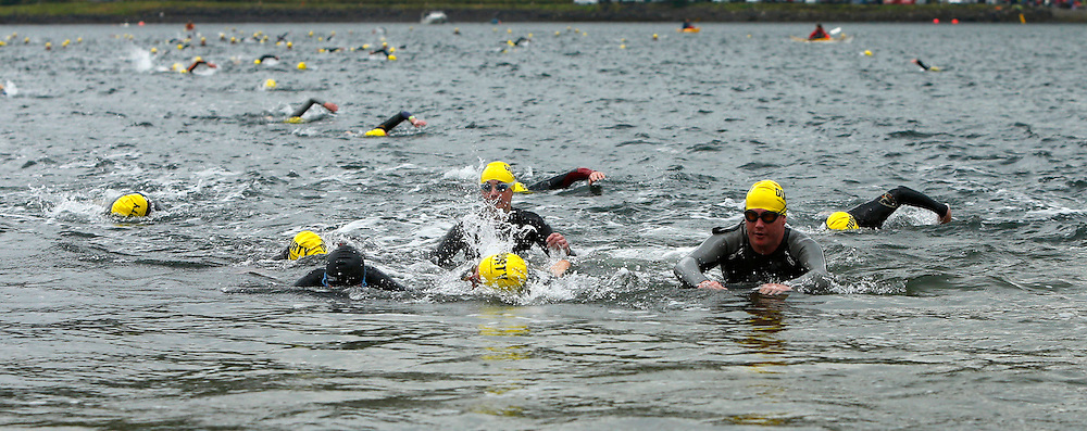Craggy Island Triathlon, Isle of Kerrera.Swimmers approaching Kerrera to complete swimming section of triathlon..(c) STEPHEN LAWSON | StockPix.eu