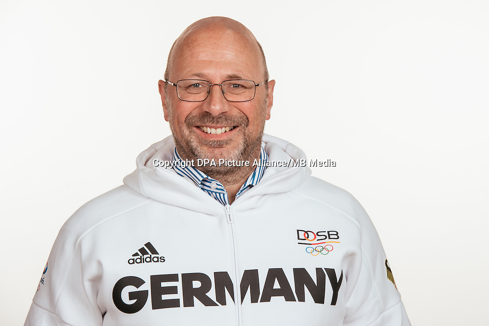 Rolf Faymonville poses at a photocall during the preparations for the Olympic Games in Rio at the Emmich Cambrai Barracks in Hanover, Germany, taken on 21/07/16 | usage worldwide