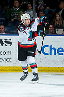 KELOWNA, BC - MARCH 7: Conner McDonald #7 of the Kelowna Rockets completes a pass against the Lethbridge Hurricanes at Prospera Place on March 7, 2020 in Kelowna, Canada. (Photo by Marissa Baecker/Shoot the Breeze)