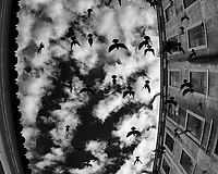 Birds in the Sky. Afternoon Street Photography in the LX Factory. Image taken with a Nikon D850 camera and 8-15 mm fisheye lens.