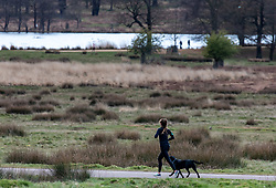 © Licensed to London News Pictures. 30/03/2020. London, UK. A runner exercises in a near empty Richmond Park as increased police patrols and the Government's social distancing message to say at home gets through to the wider public: As Downing Street chief aide, Dominic Cummings goes into self-isolation as the coronavirus crisis continues. Photo credit: Alex Lentati/LNP