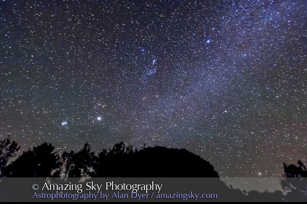 Orion and the northern winter constellations, over Timor Rock, December 2012 from Australia, looking north. A single 1 minute exposure at f/3.5 and ISO 3200 with Canon 60Da and 10-22mm lens. Jupiter is bright object at lower left.