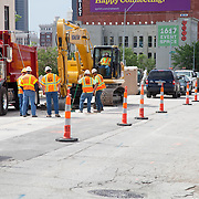 Main Street construction work at Kansas City streetcar starter line groundbreaking ceremony, May 22, 2014.