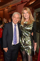 Speaker of the House of Commons JOHN BERCOW and his wife SALLY BERCOW at an after show party following the opening of Peter Pan at the New Wimbledon Theatre, 93 The Broadway, London on 8th December 2015.
