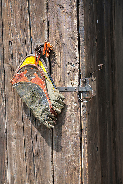 Colorful bird handling gloves hand from a nail on an old wooden door with an iron latch